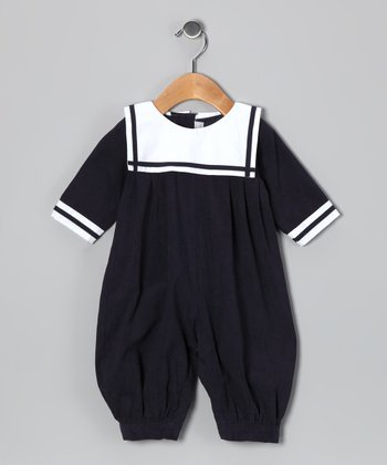 Navy Corduroy Sailor Playsuit - Infant