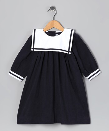 Navy Corduroy Sailor Dress - Infant