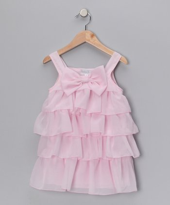 Pink Bow Chiffon Ruffle Dress - Infant & Toddler