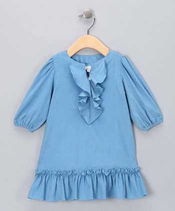 Blue Corduroy Ruffle Dress - Infant & Toddler