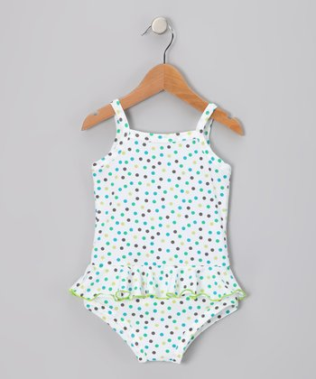 Blue & Green Polka Dot One-Piece - Infant