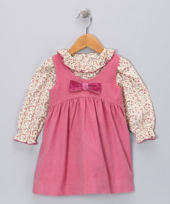 Dusty Pink Floral Shirt & Corduroy Jumper - Infant & Toddler
