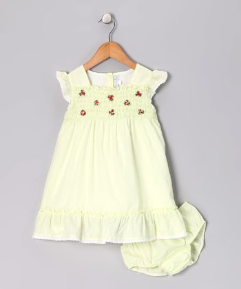 Green Swiss Dot Smocked Dress - Toddler