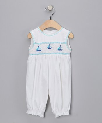 White & Aqua Sailboat Bubble Playsuit - Infant