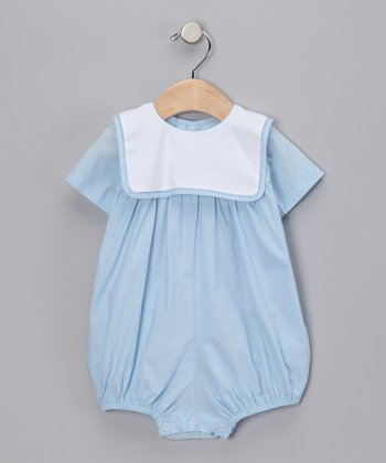 Blue & White Bib Collar Bubble Bodysuit - Infant