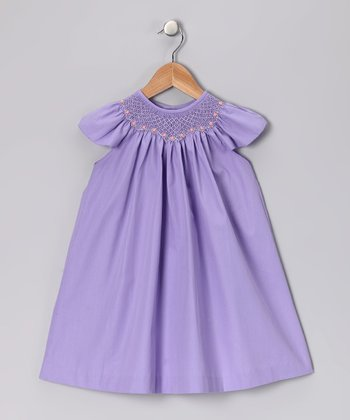 Lavender Smocked Angel-Sleeve Dress - Infant & Toddler