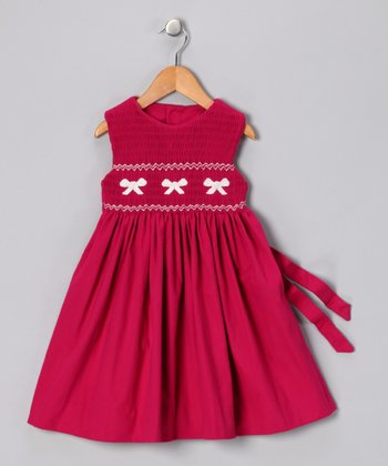 Fuchsia Bow Smocked Dress - Infant & Toddler