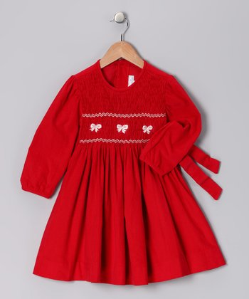 Red Bow Smocked Corduroy Dress - Infant, Toddler & Girls