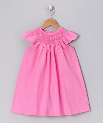 Pink Pearl Smocked Angel-Sleeve Dress - Infant & Toddler