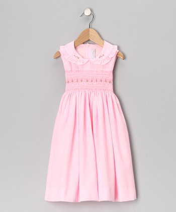 Pink Rose Smocked Dress - Girls