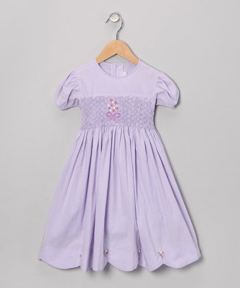 Lavender Bouquet Puff-Sleeve Dress - Infant