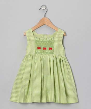 Green Cherry A-Line Dress - Infant & Toddler