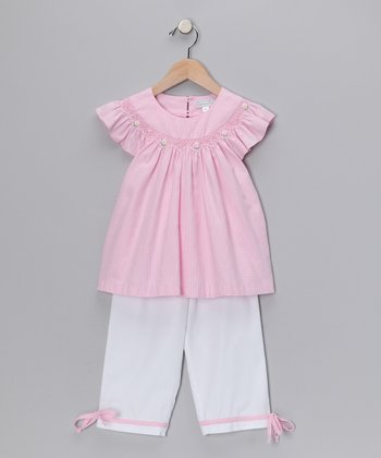 Pink Gingham Angel-Sleeve Top & Pants - Infant