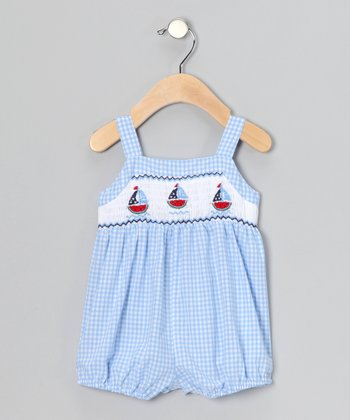 Blue Gingham Boat Bubble Bodysuit - Infant