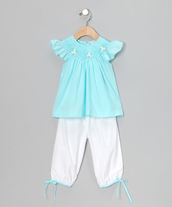 Aqua Daisy Angel-Sleeve Top & White Pants - Infant