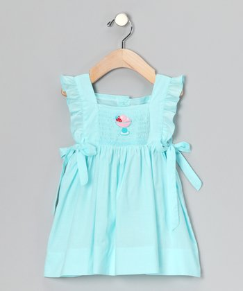 Aqua Ice Cream Smocked Ruffle Dress - Infant & Toddler