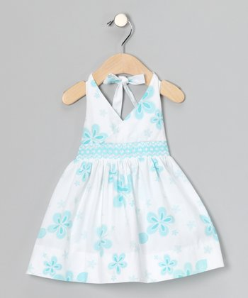 Aqua Hibiscus Smocked Halter Dress - Infant
