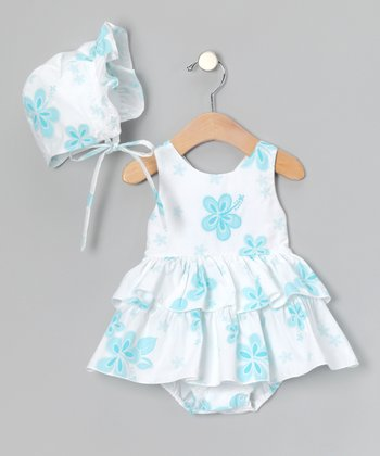 Aqua Hibiscus Sunsuit & Bonnet - Infant