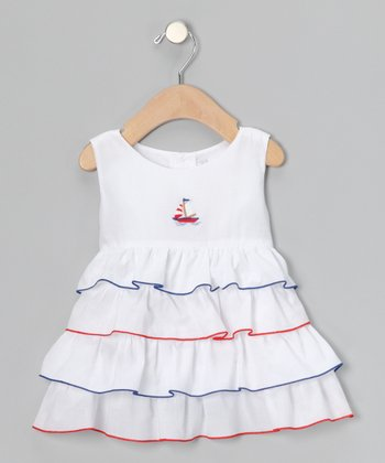 White & Navy Sailboat Ruffle Dress - Infant & Toddler