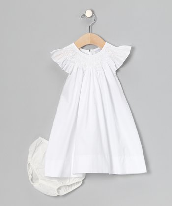 White Angel-Sleeve Dress & Diaper Cover - Infant