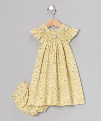 Yellow Smocked Angel-Sleeve Dress & Diaper Cover - Infant