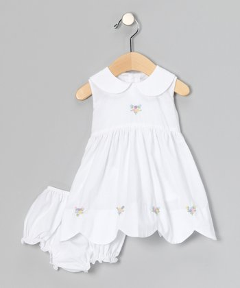 White Rosette Scalloped Dress & Diaper Cover - Infant