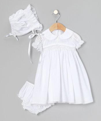 White Rosette Dress Set - Infant