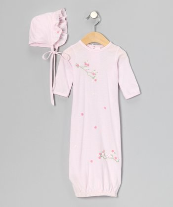 Pink Embroidered Gown & Bonnet