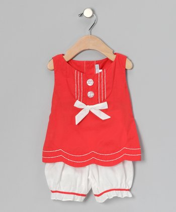Orange Scallop Bow Tank & Bloomers - Infant & Toddler