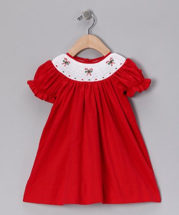 Red Candy Cane Smocked Corduroy Dress - Infant & Toddler