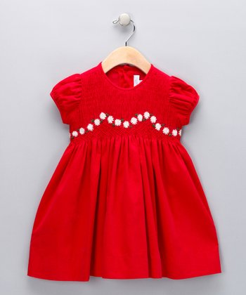 Red Daisy Smocked Corduroy Dress - Infant & Toddler