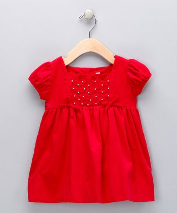 Red Pearl Smocked Corduroy Dress - Infant & Toddler