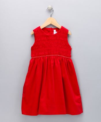 Red Smocked Corduroy Swing Dress - Toddler & Girls