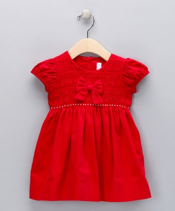 Red Smocked Corduroy Bow Dress - Infant
