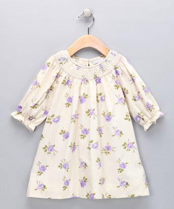 Ivory & Lavender Floral Bishop Dress - Infant & Toddler