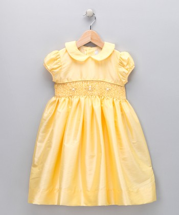 Yellow & Gold Smocked Garden Dress - Infant