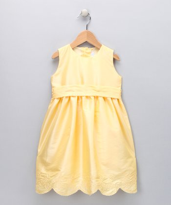 Yellow Scalloped Floral A-Line Dress - Toddler & Girls