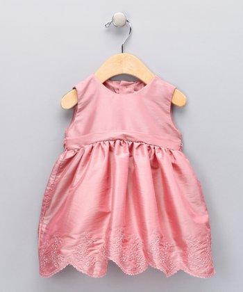 Mauve Scalloped Floral Dress - Infant
