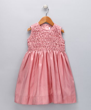 Mauve Smocked Pearl Dress - Toddler & Girls