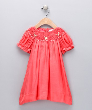 Orange Floral Bishop Dress - Infant