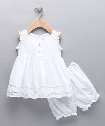 White Eyelet Dress & Bloomers - Infant