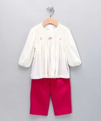 Ivory Smocked Top & Fuchsia Pants - Infant, Toddler & Girls