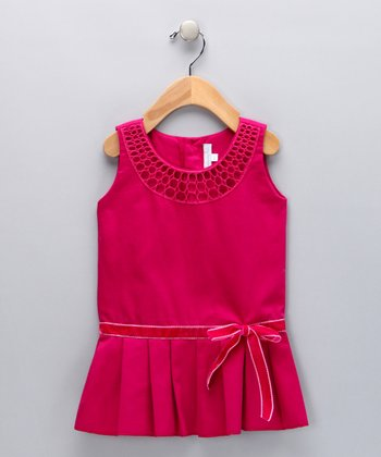 Fuchsia Drop-Waist Bow Dress - Toddler & Girls