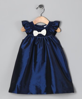 Navy Smocked Bow Dress - Infant & Toddler