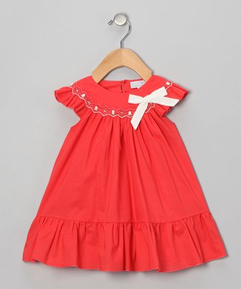 Orange Bow Angel-Sleeve Dress - Infant & Toddler