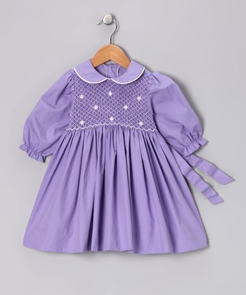 Lavender Smocked Puff-Sleeve Dress - Infant, Toddler & Girls