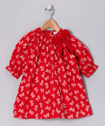 Red Bow Corduroy Bishop Dress - Infant & Toddler