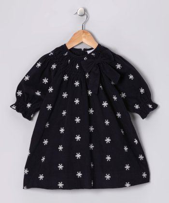Navy Snowflake Corduroy Bishop Dress - Infant & Toddler