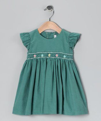 Mint Corduroy Smocked Angel-Sleeve Dress - Infant & Toddler