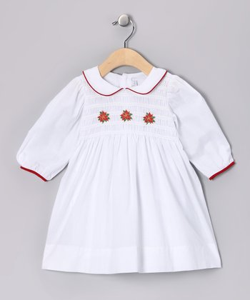White Poinsettia Smocked Dress - Toddler